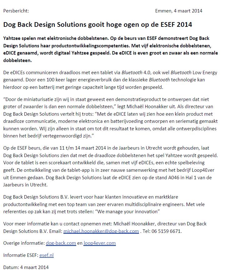 DBDS Persbericht - ESEF - eDice 4 maart 2014